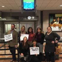 Senior Associate Attorney Abbie Weibel provides volunteer legal support to arriving immigrants at Denver International Airport