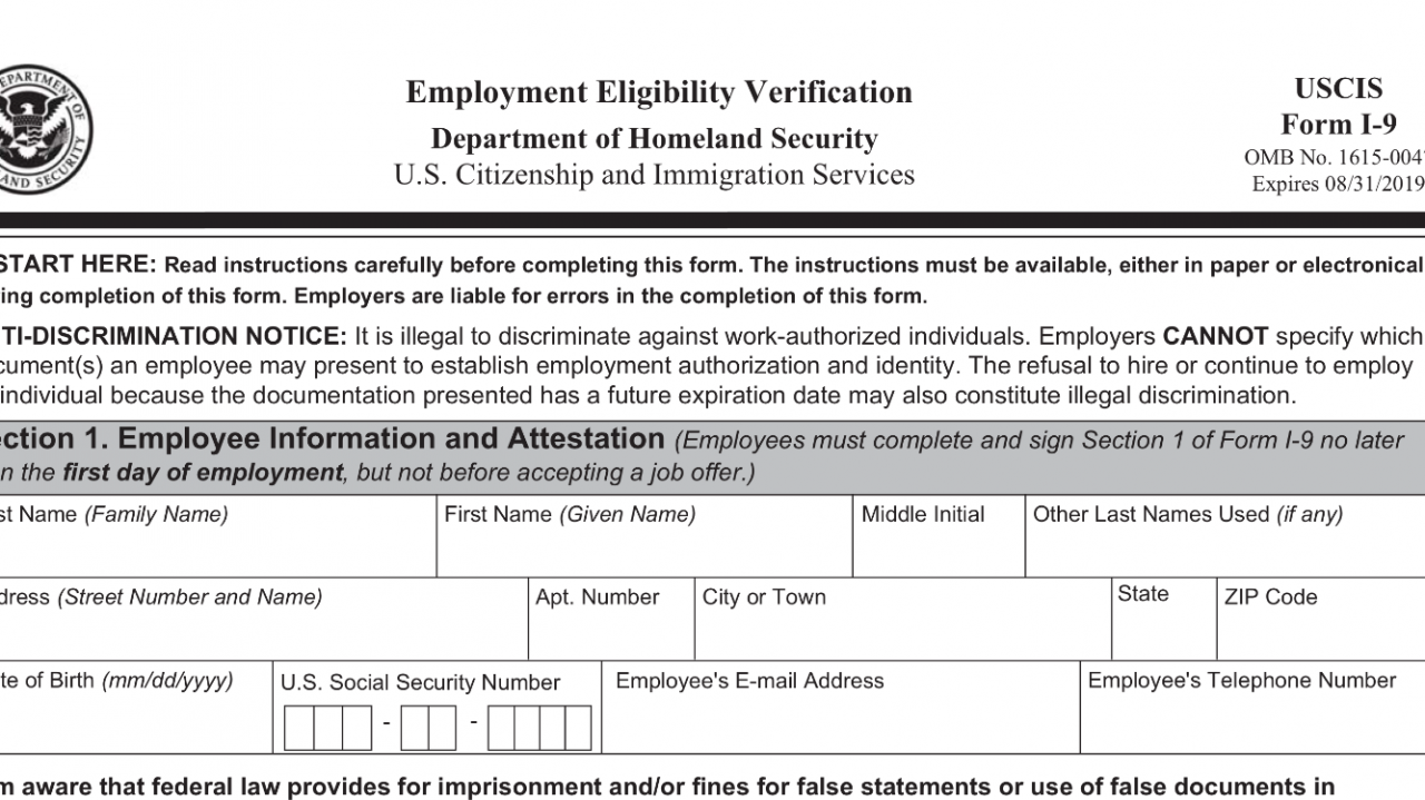 New version of Federal Form I-9 is now mandatory