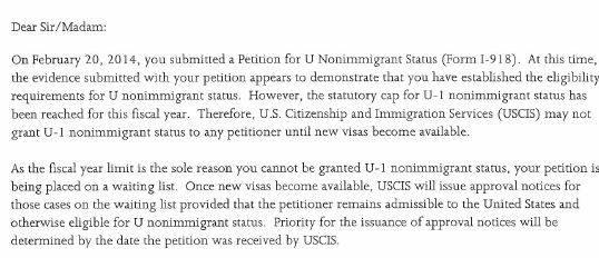 USCIS Announces it has reached U Visa Cap for Fiscal Year 2016